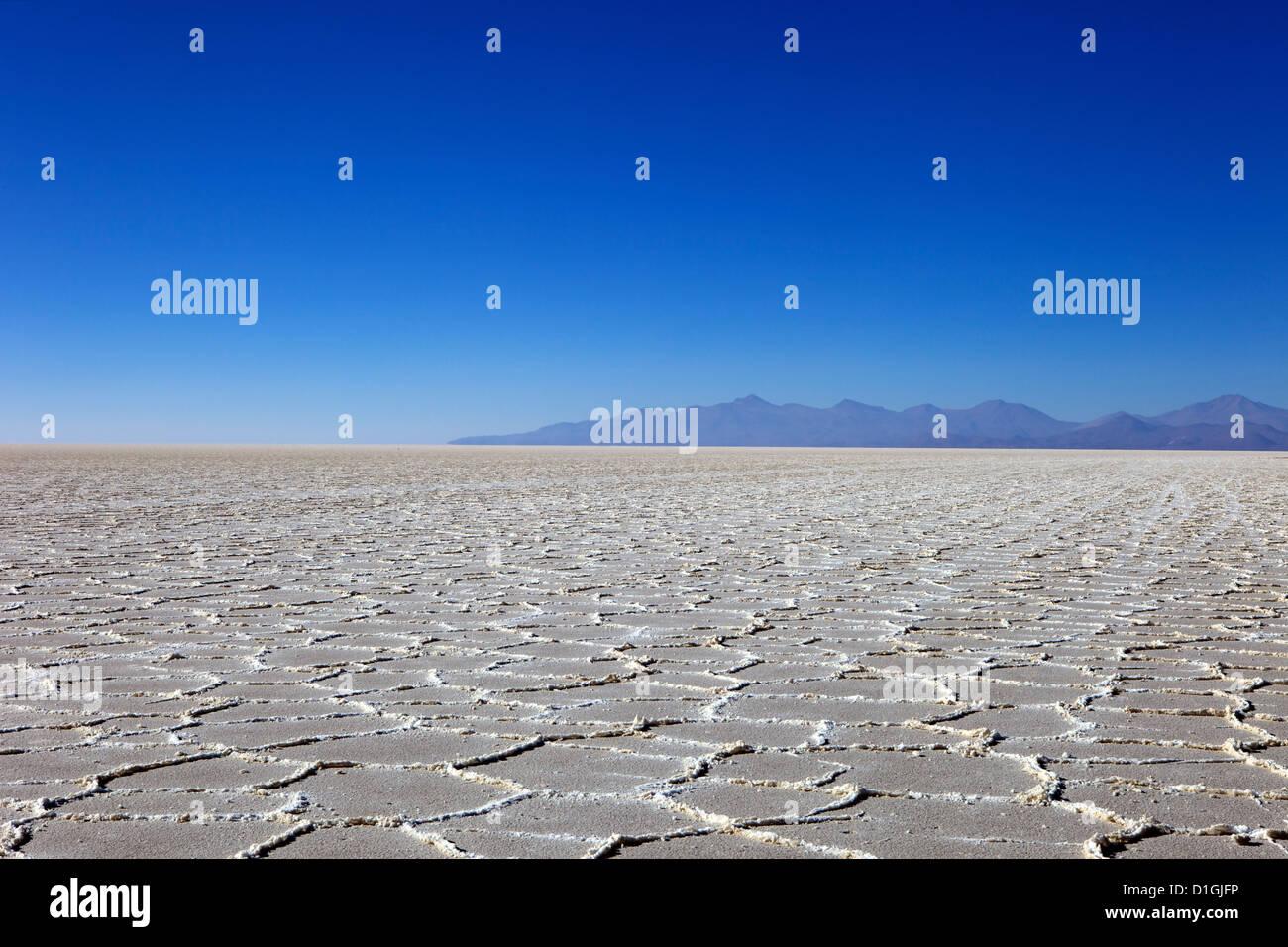 Details zu den Salzablagerungen in der Salar de Uyuni Salz flach und die Anden, im Süd-westlichen Bolivien, Stockbild