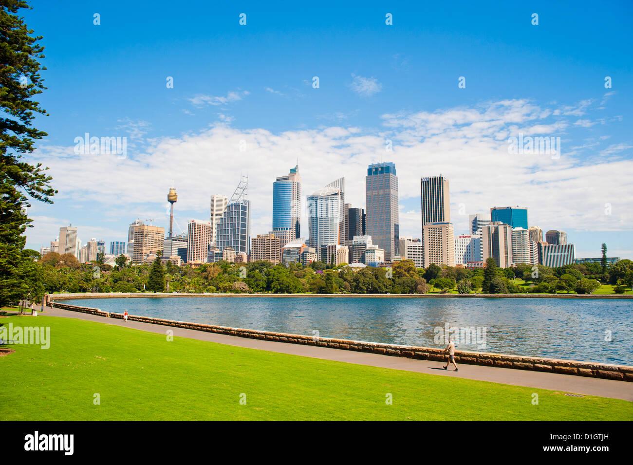 Stadtzentrum von Sydney und central Business District (CBD) von Sydney Royal Botanic Gardens, Sydney, New South Stockbild