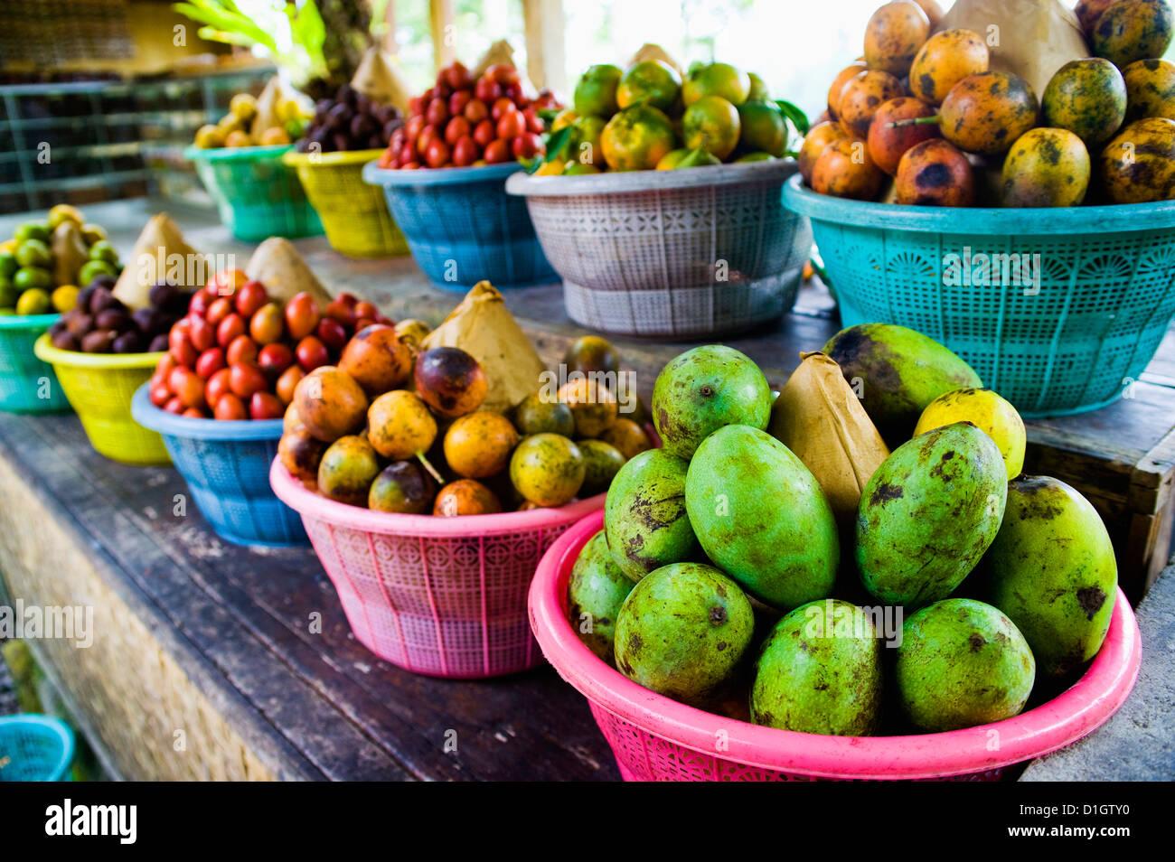 Exotische Früchte auf einer tropischen Obstplantage, Bali, Indonesien, Südostasien, Asien Stockbild