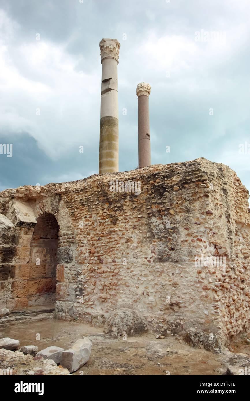 Überreste der Antonine Bäder in Carthago, Tunis, Tunesien Stockbild