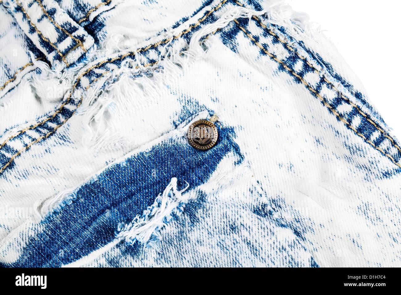 Jeans-Tasche mit Metall niet Nahaufnahme Stockbild