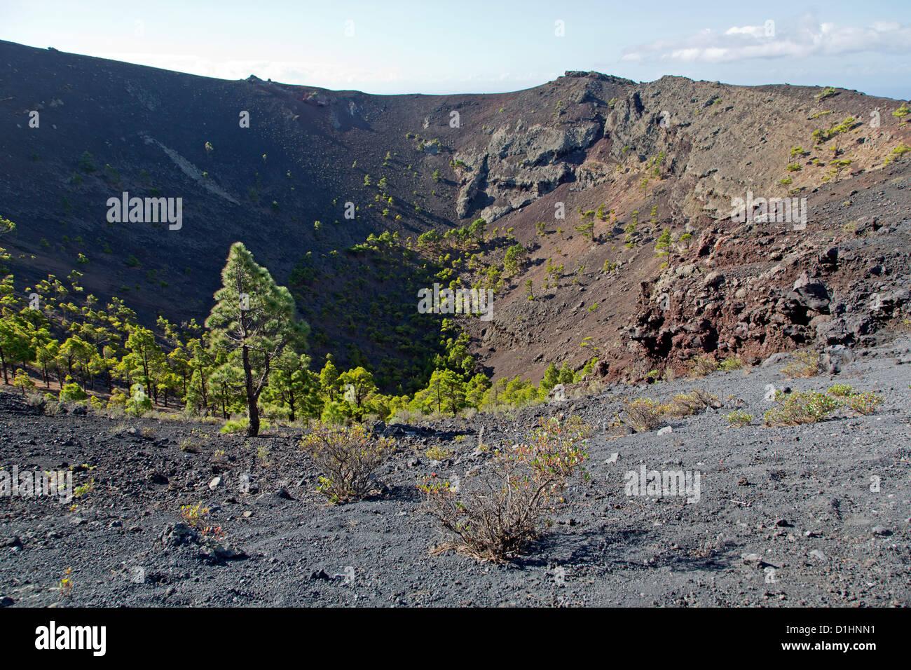 Vulkankrater San Antonio, La Palma, Spanien Stockbild