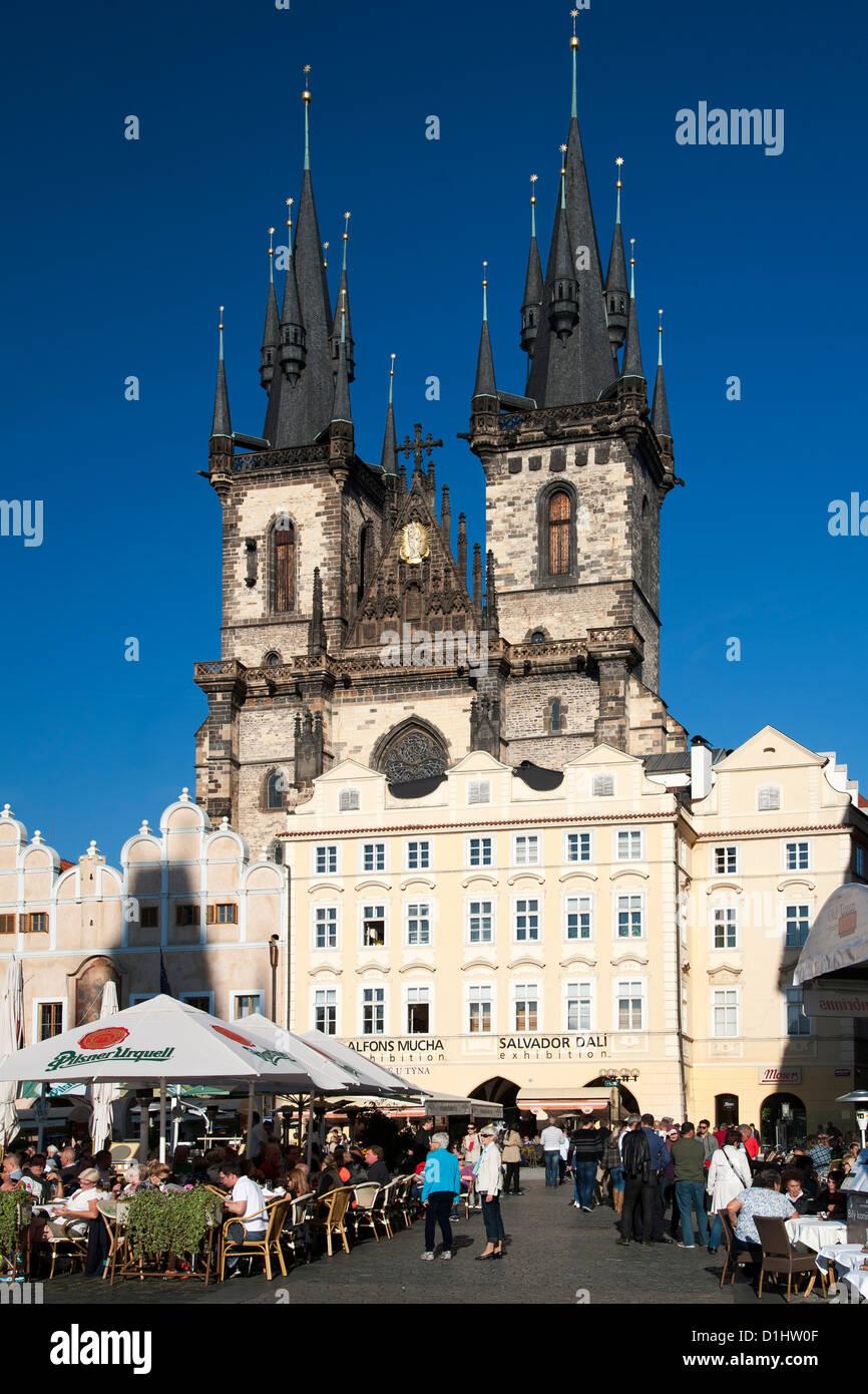 Church of Our Lady vor Tyn in Jizchak Nám?stí, dem Altstädter Ring in Prag, die Hauptstadt der Tschechischen Stockbild