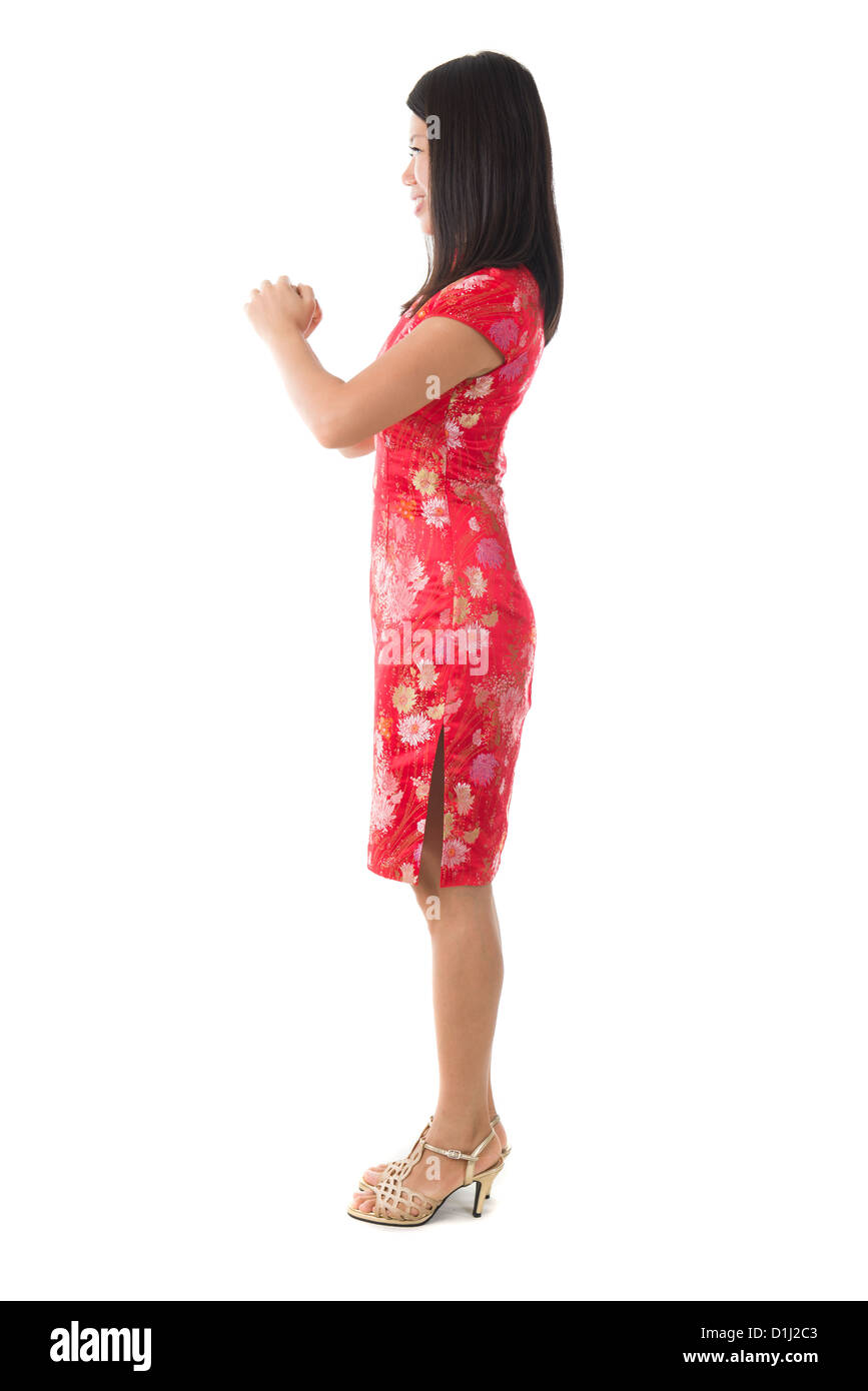 Chinesisches Neujahr-Mädchen Gruß isoliert in weiß, voller Körper ...