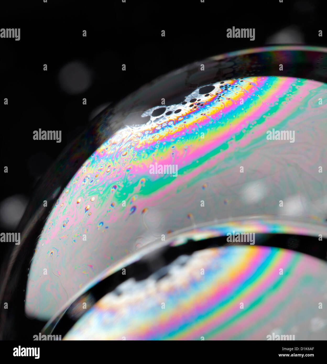 Nahaufnahme der Seifenblasen. Stockfoto