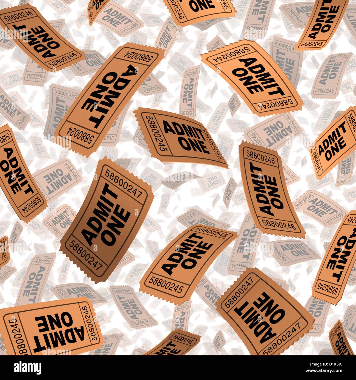 Eintrittskarten für Filme und Kino Film Festival Entertainment-Feier-Konzept mit Papier Stubs fliegen in der Stockbild