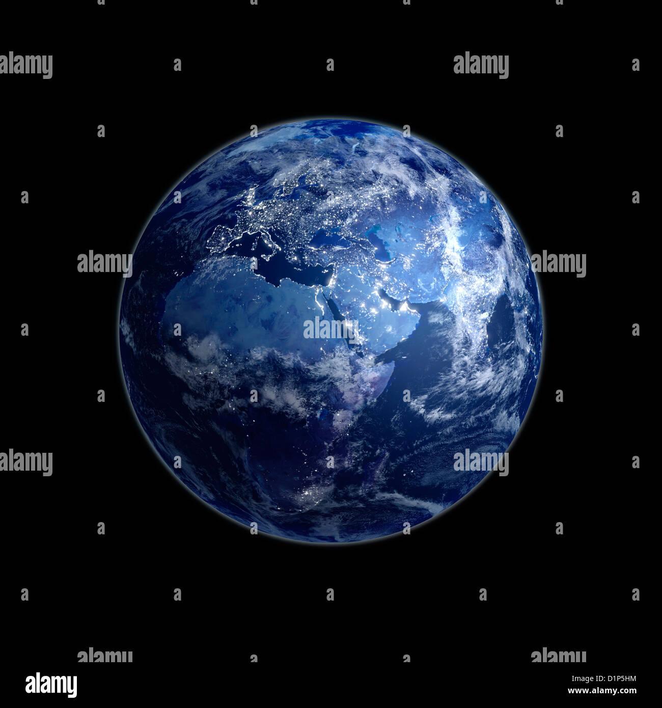 Erde bei Nacht, Kunstwerk Stockbild