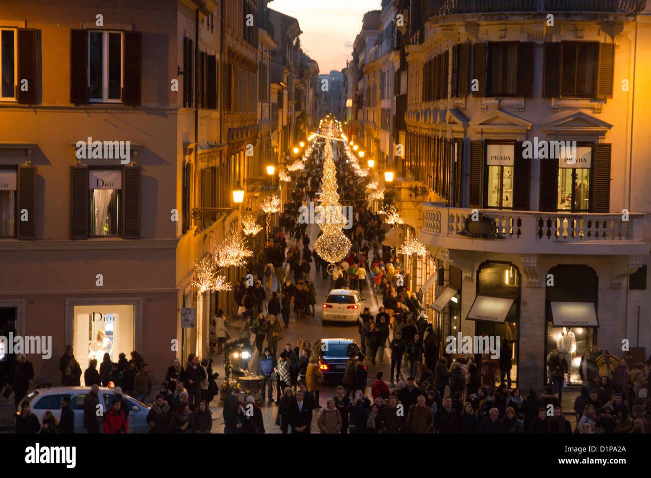 Via Condotti Rom Italien Weihnachten Dekorationen Lichter ...