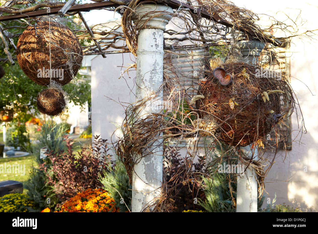 garten spalier mit herbst dekoration stockfoto bild 52741602 alamy. Black Bedroom Furniture Sets. Home Design Ideas