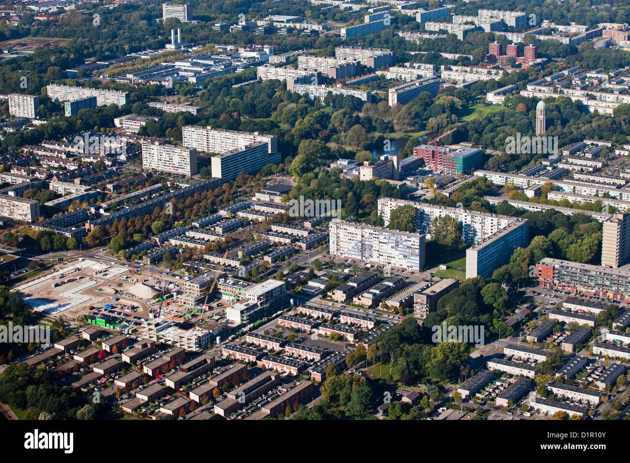 Die Niederlande, Utrecht, Wohnviertel im nördlichen Teil der Stadt. Luft. Stockbild