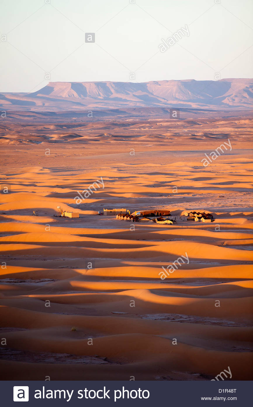 Marokko, M' Hamid, Erg Chigaga Dünen. Wüste Sahara. Tourist camp, Biwak. Stockbild
