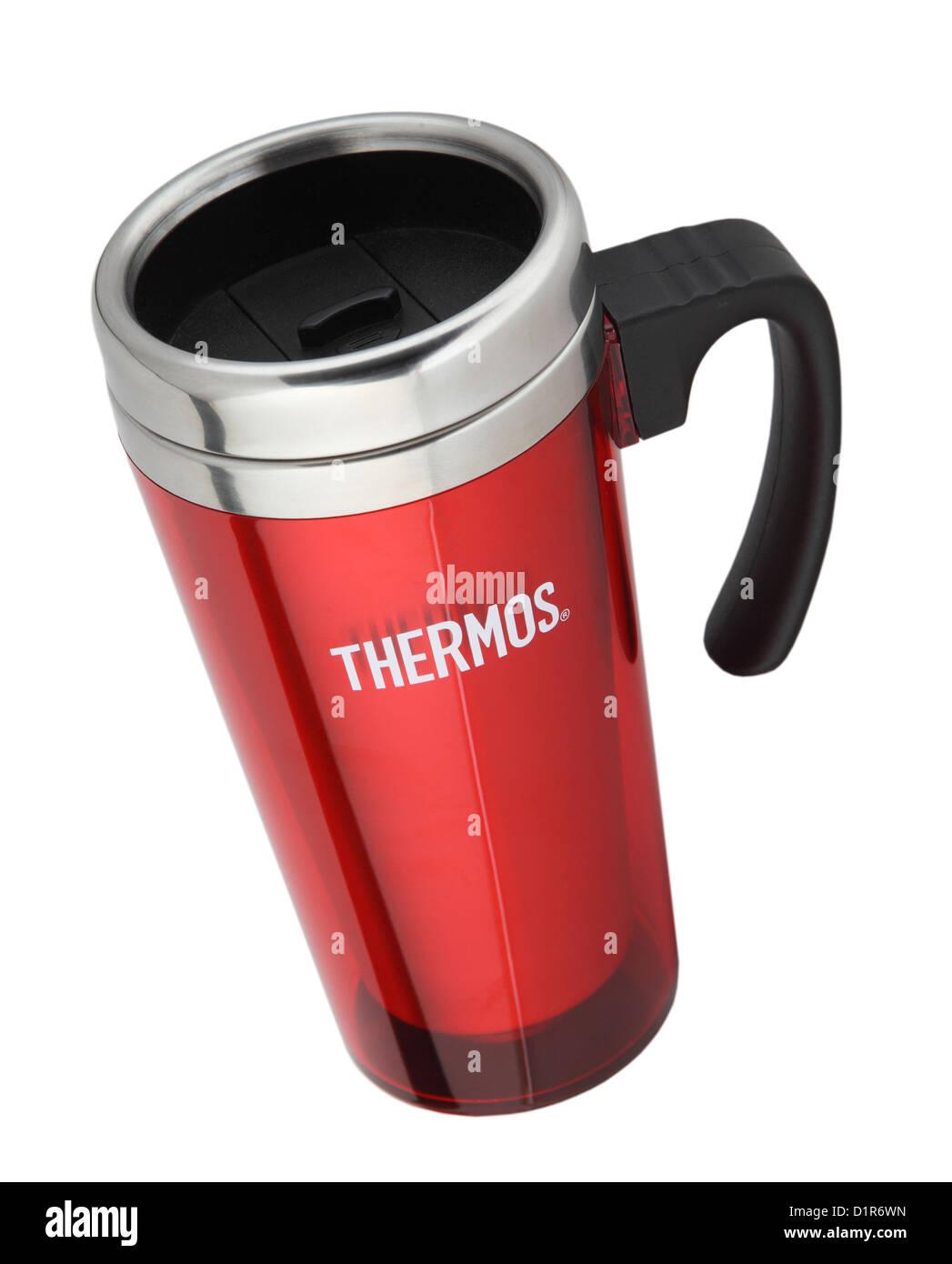 Thermoskanne rot isoliert Reise- oder Desktop Becher isoliert auf weißem backgoround Stockbild