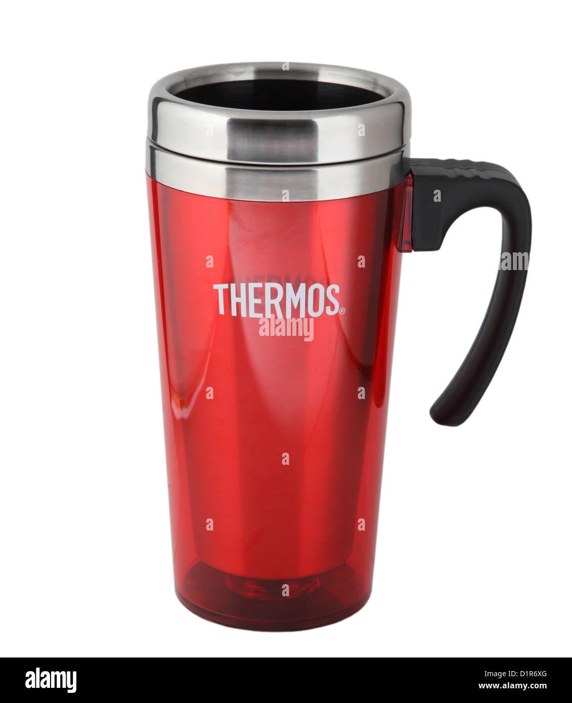 Rote Thermoskanne isoliert, Reisen oder einen Desktop-Becher Stockbild