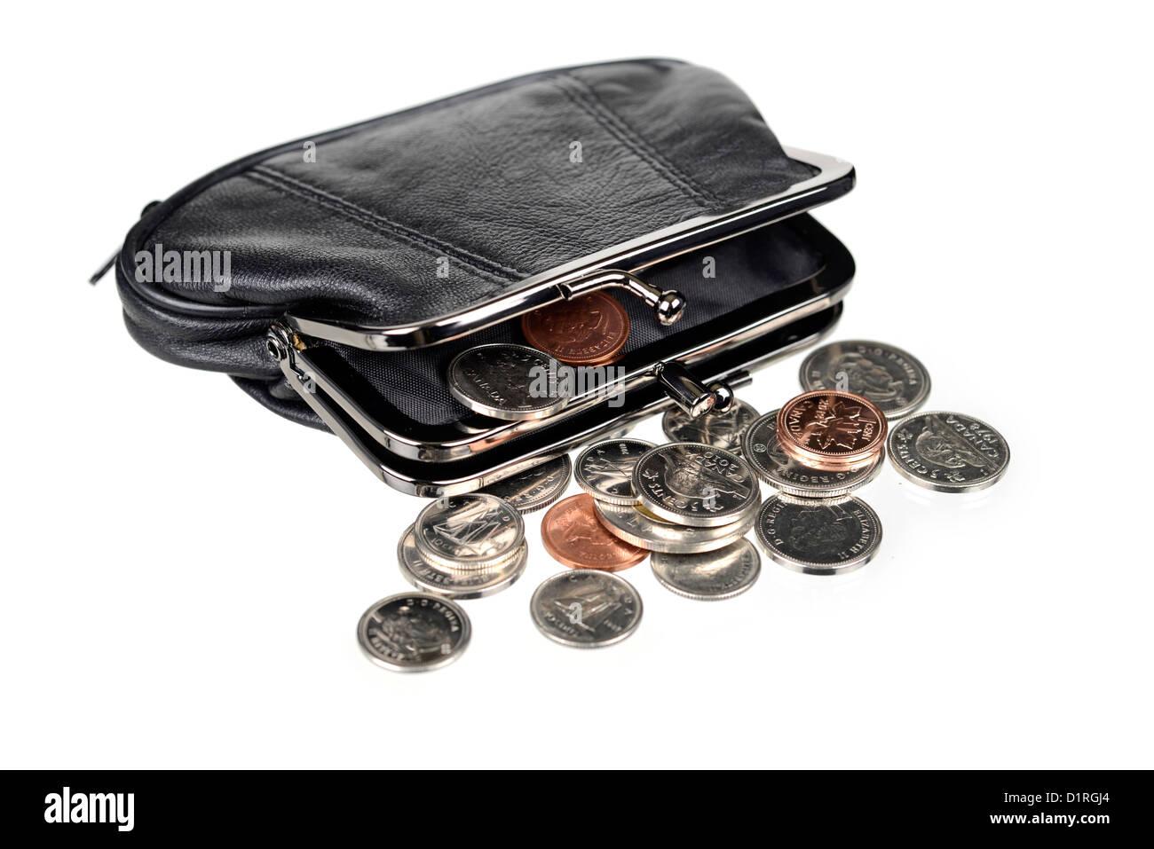 Geldbörse mit Münzen, Canadian Geld. Stockbild