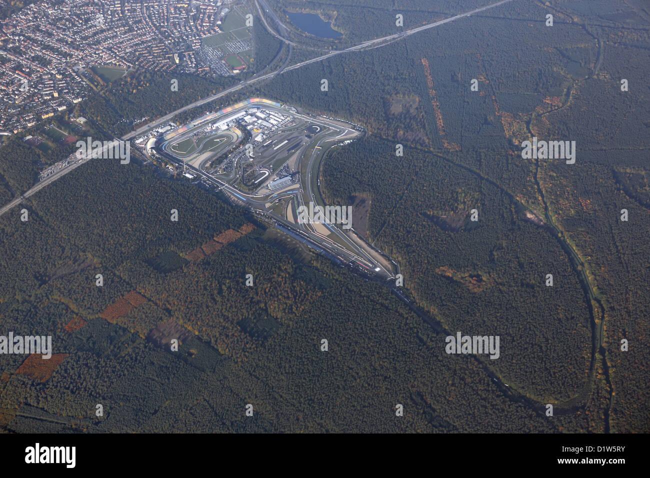 Hockenheim, Deutschland, Luftaufnahme der Motorsport-Rennstrecke Hockenheimring Stockbild