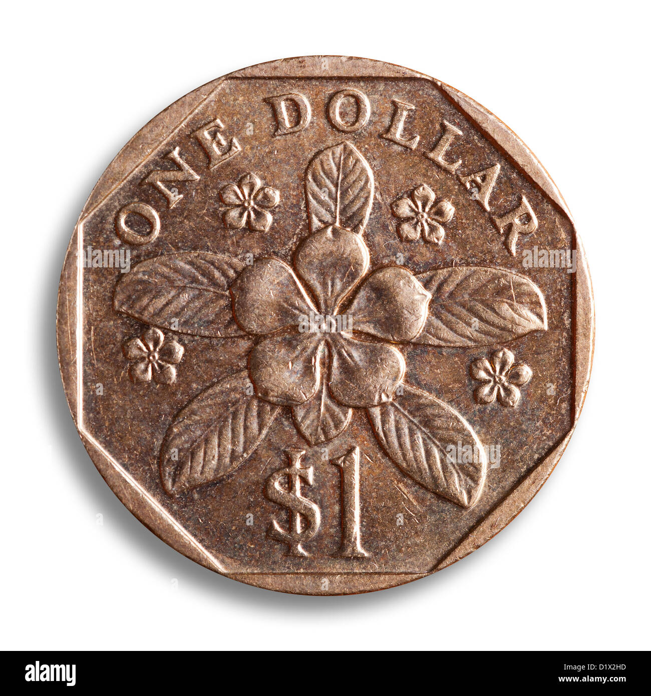 Singapur Dollar Münze Weiße Backgroudn Clipping Pfad Stockfoto