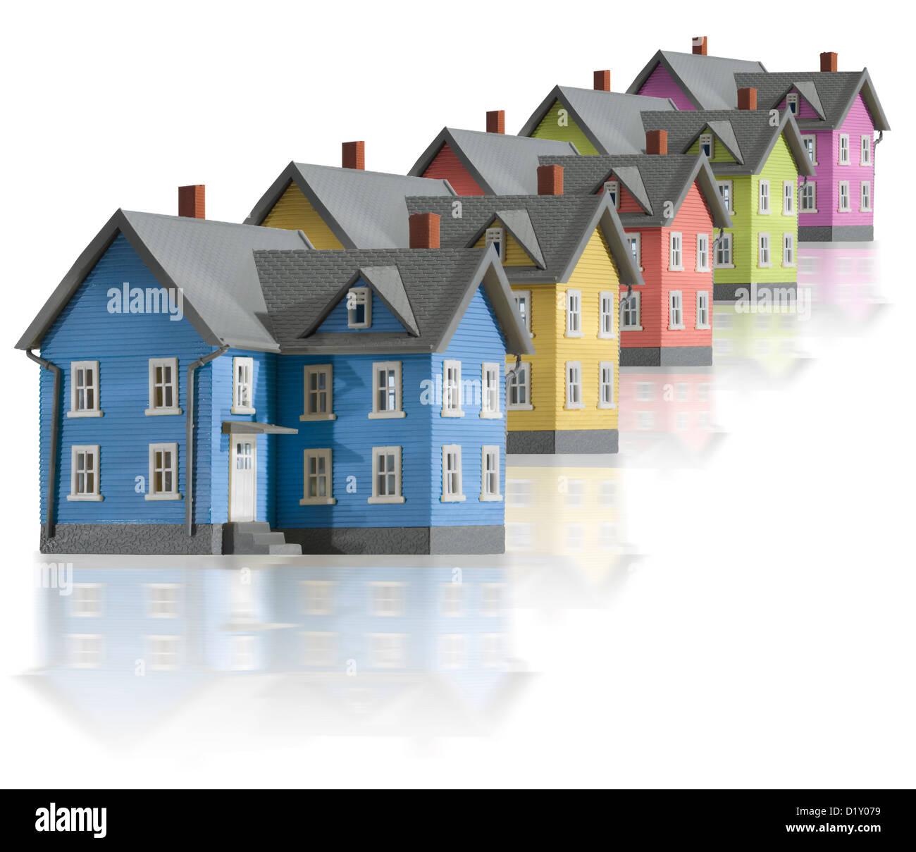 Häuser in einer vertikalen Reihe Stockbild