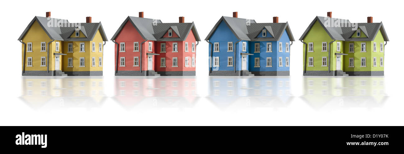 Häuser in einer Reihe Stockbild