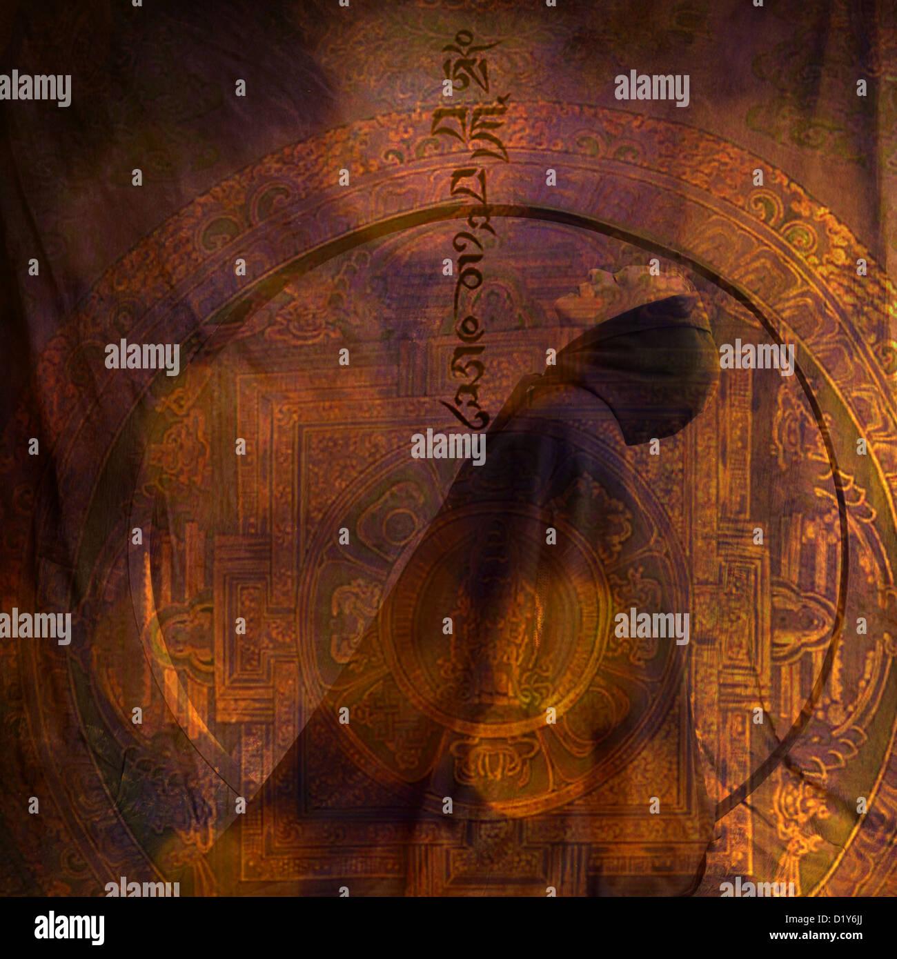 Foto Basedillustration eine verhüllte Frau mit der tibetischen Gebet Om Mani Padme Hum ?? ???????? ???. Stockbild
