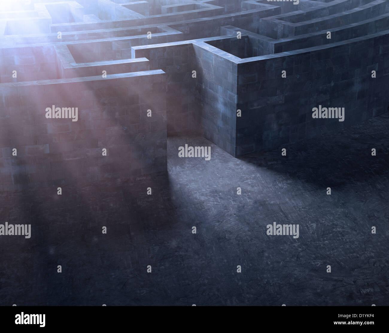 Eintritt in ein geheimnisvolles Labyrinth Stockbild