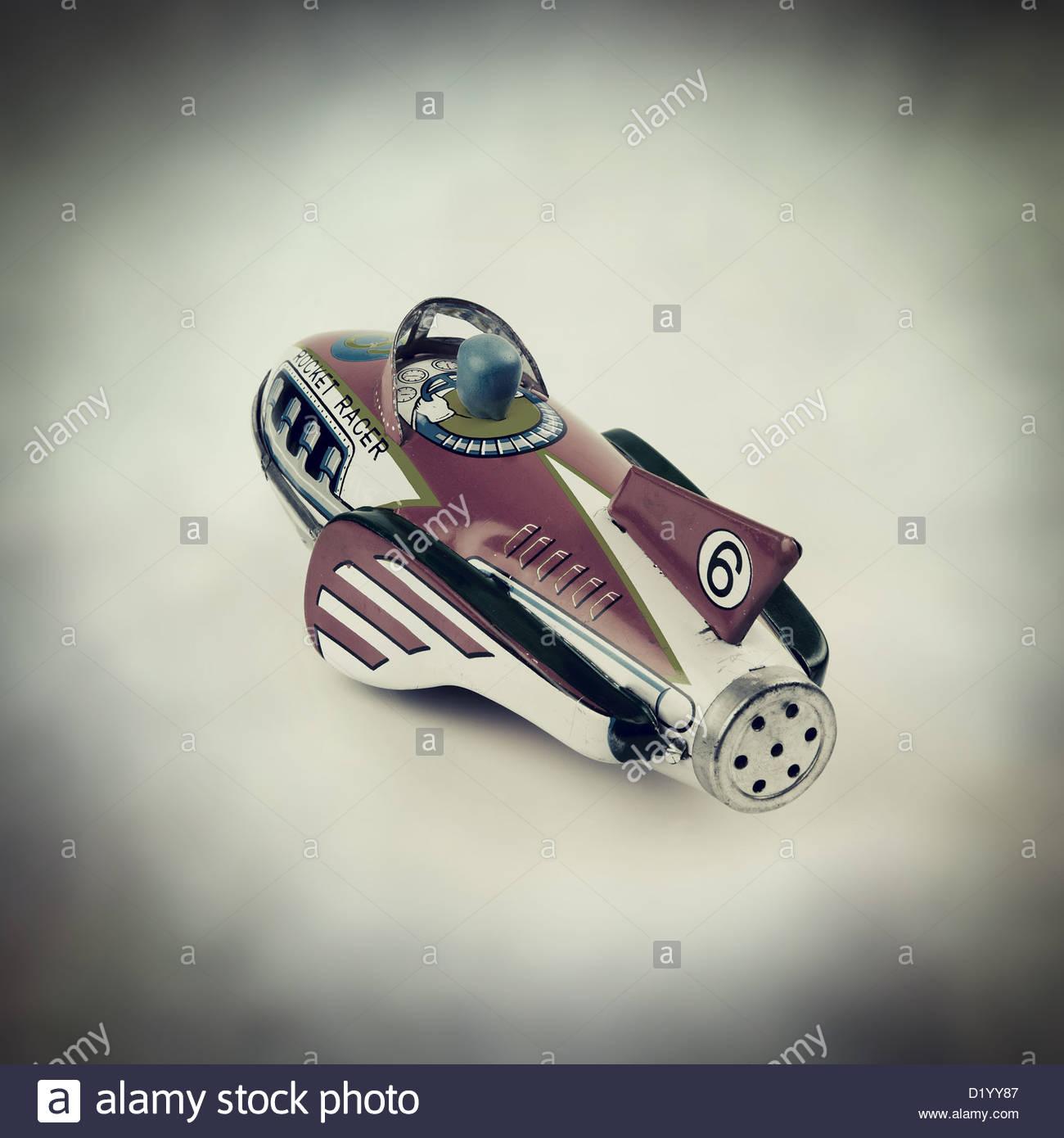 Rocket Racer Weissblech Spielzeug Stockbild
