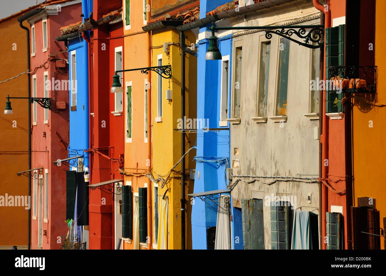 Bunte Haeuser, Insel Burano, Lagune von Venedig, Veneto, Venedig, Italien Stockbild