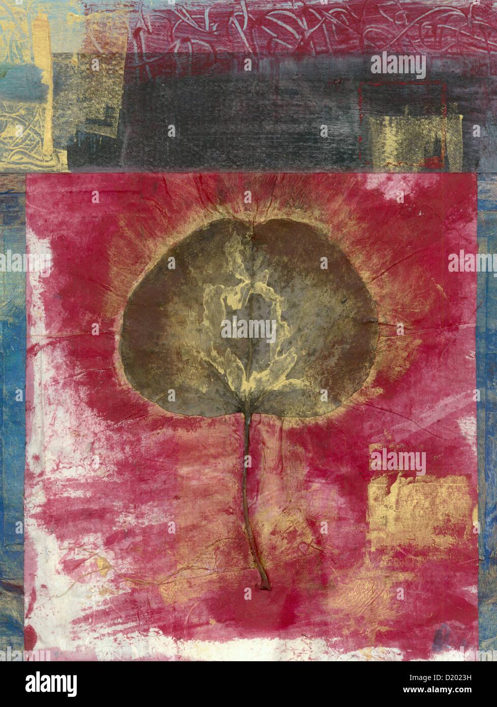 Blatt, collagiert auf ein abstraktes Gemälde. Blätter sind die Lungen der Bäume. Stockbild