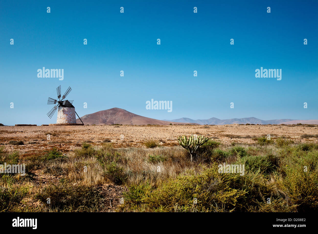 Windmühle Molino de Tefia, Tefia, Fuerteventura, Kanarische Inseln, Spanien Stockbild