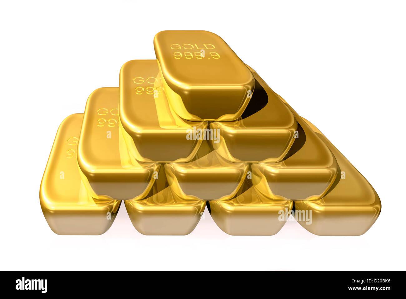 Einen Haufen, Stapel, Haufen, Zeile, Zeilen, feine, echte pure Goldbarren Bars Aussparung ausschneiden Ausschnitt Stockbild