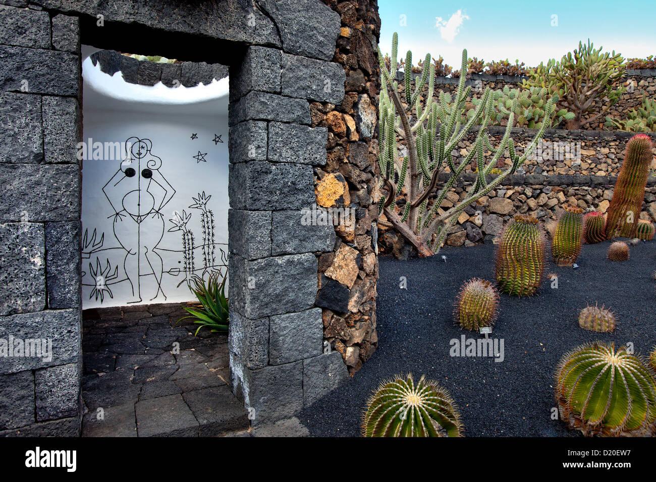 Damentoilette im Botanischen Garten Jardin de Cactus, Architekt, Casar Manrique, Guatiza, Lanzarote, Kanarische Stockbild