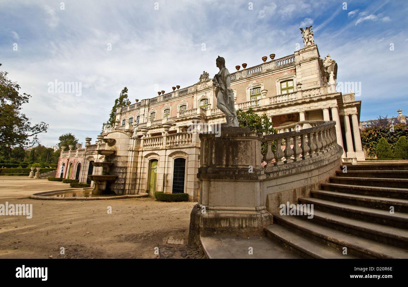 Robillon Flügel, Westfassade, Queluz National Palace (Palacio Nacional de Queluz). Queluz, Portugal Stockfoto