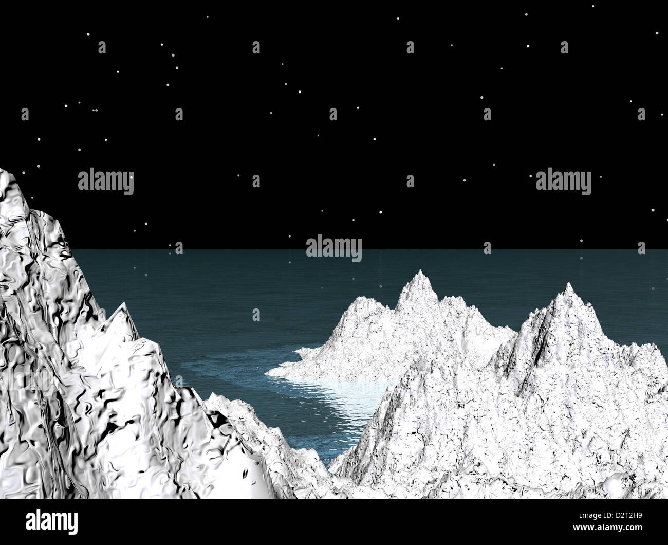 Computer generierte Bild von Schnee bedeckten Felsen Stockbild