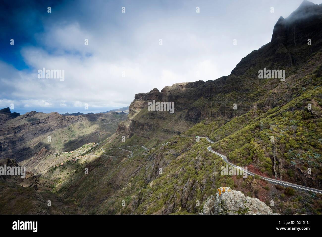 Straße an das Teno Gebirge, Teneriffa, Kanarische Inseln, Spanien, Europa Stockbild