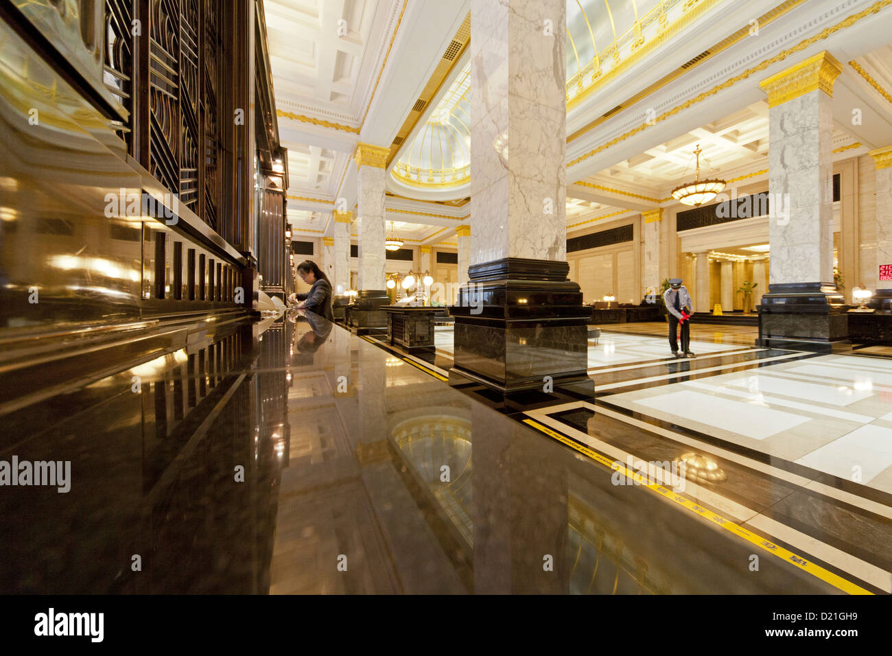 poliertem Marmor und Art-Deco-Interieur, lobby, Bank of China, auf ...