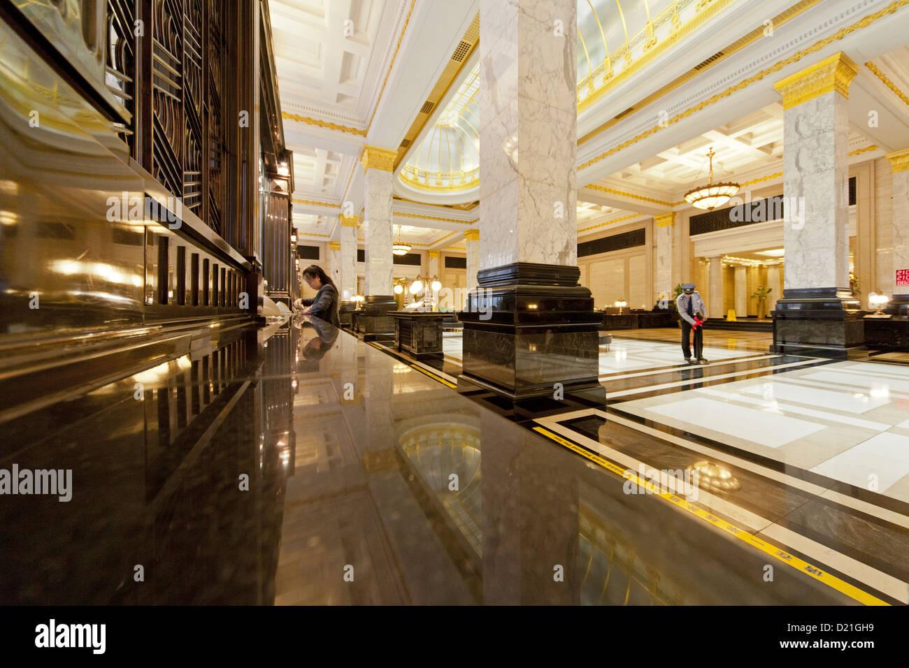 poliertem Marmor und Art-Deco-Interieur, lobby, Bank of China, auf ...