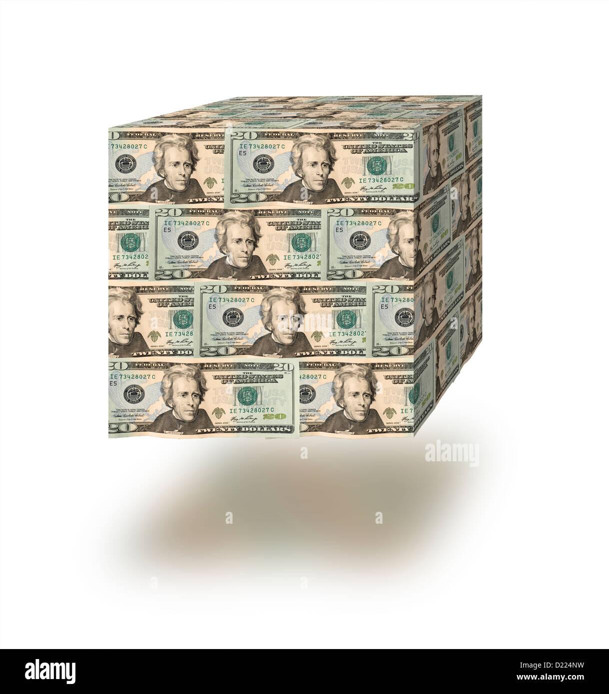 Würfel des Geldes vor einem weißen Hintergrund Stockbild
