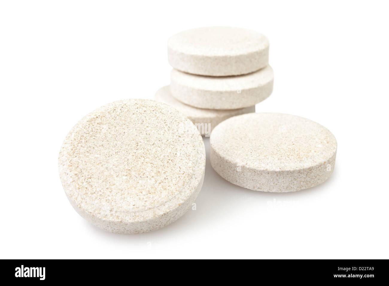 Vitamin-Pille Tablette auf weißem Hintergrund Stockbild