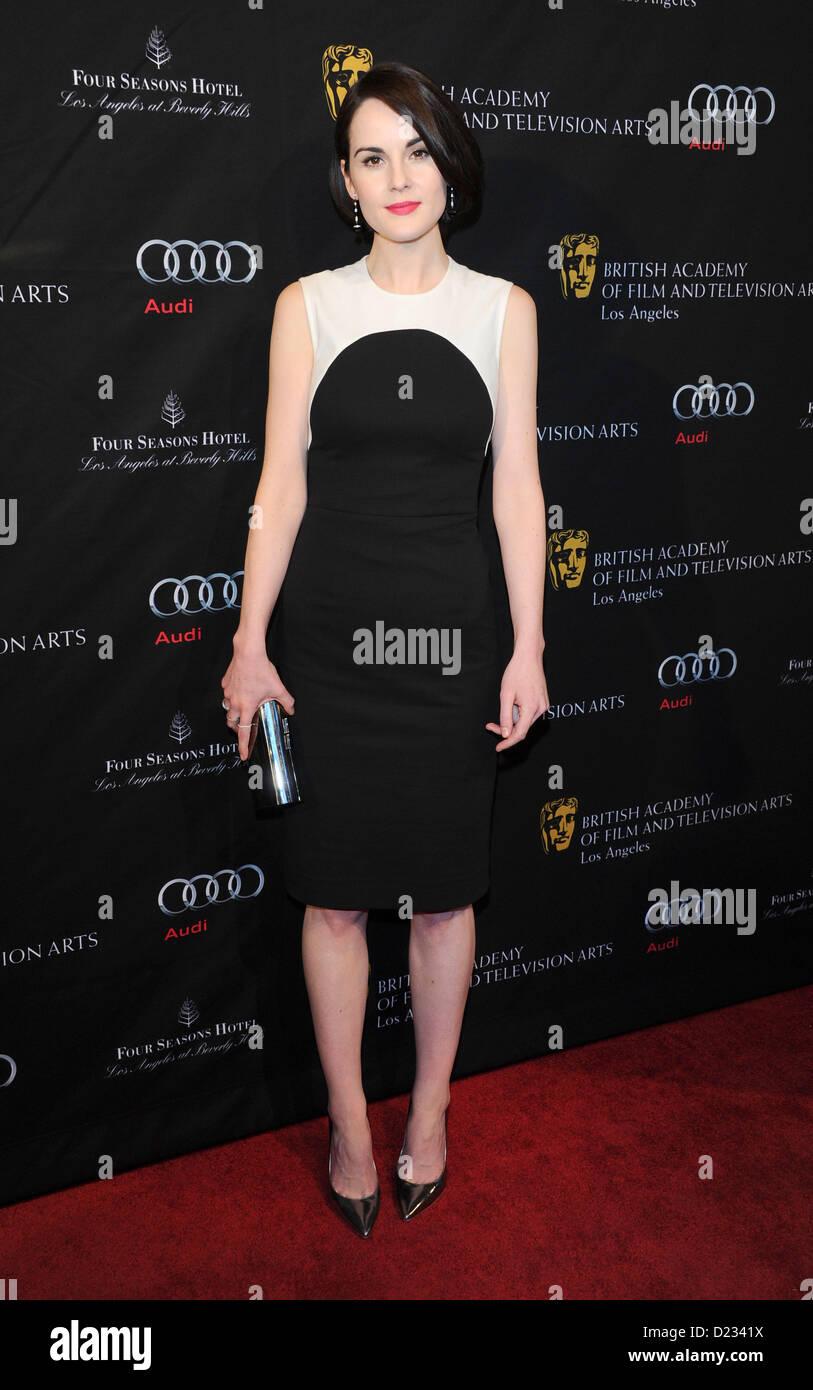 Michelle Dockery kommt bei der BAFTA Awards Saison Tea Party in Beverly Hills, Amerika, 12. Januar 2013 Stockbild