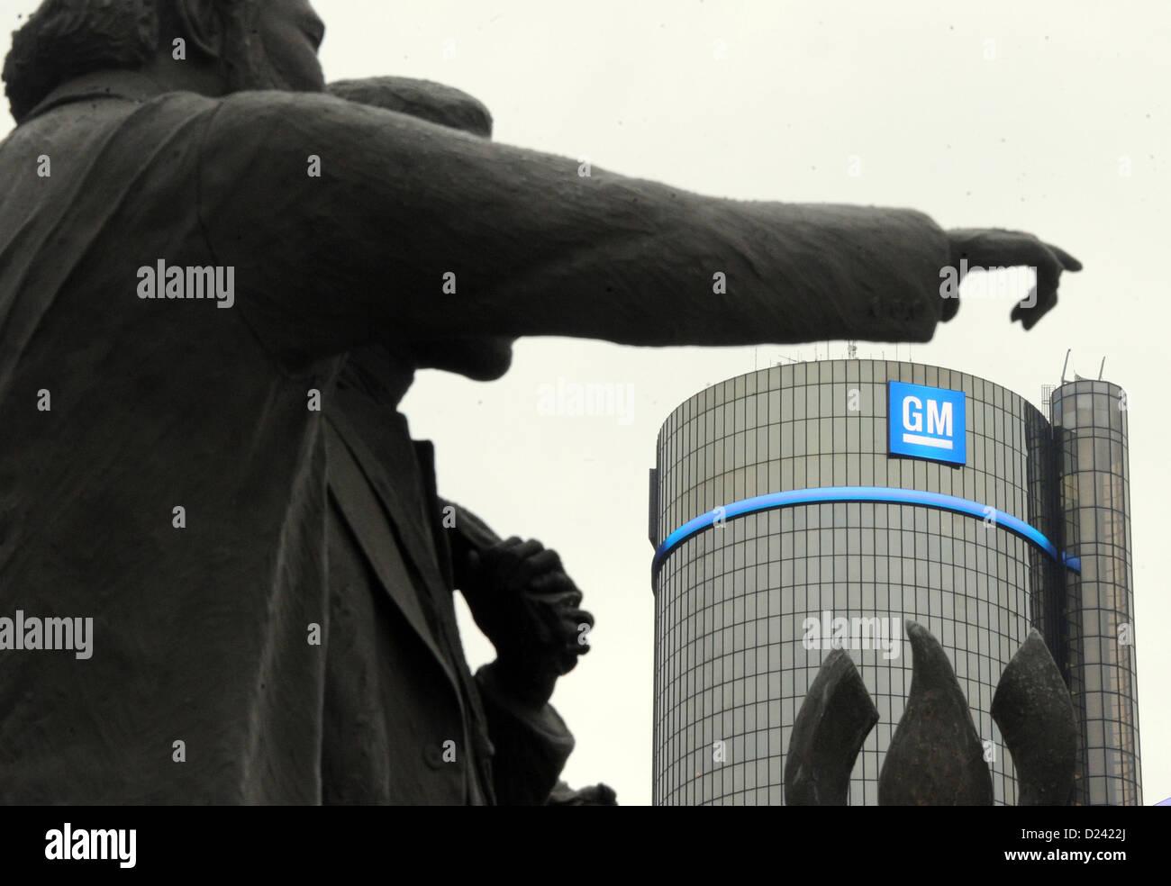 Außenaufnahme der Firmenzentrale des Autobauers General Motors (GM) Aufgenommen bin 13.01.2013 in Detroit. Stockbild