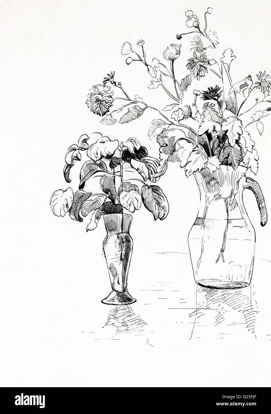Original Bleistift Oder Zeichnung Kohle Und Handgezeichneten Malen