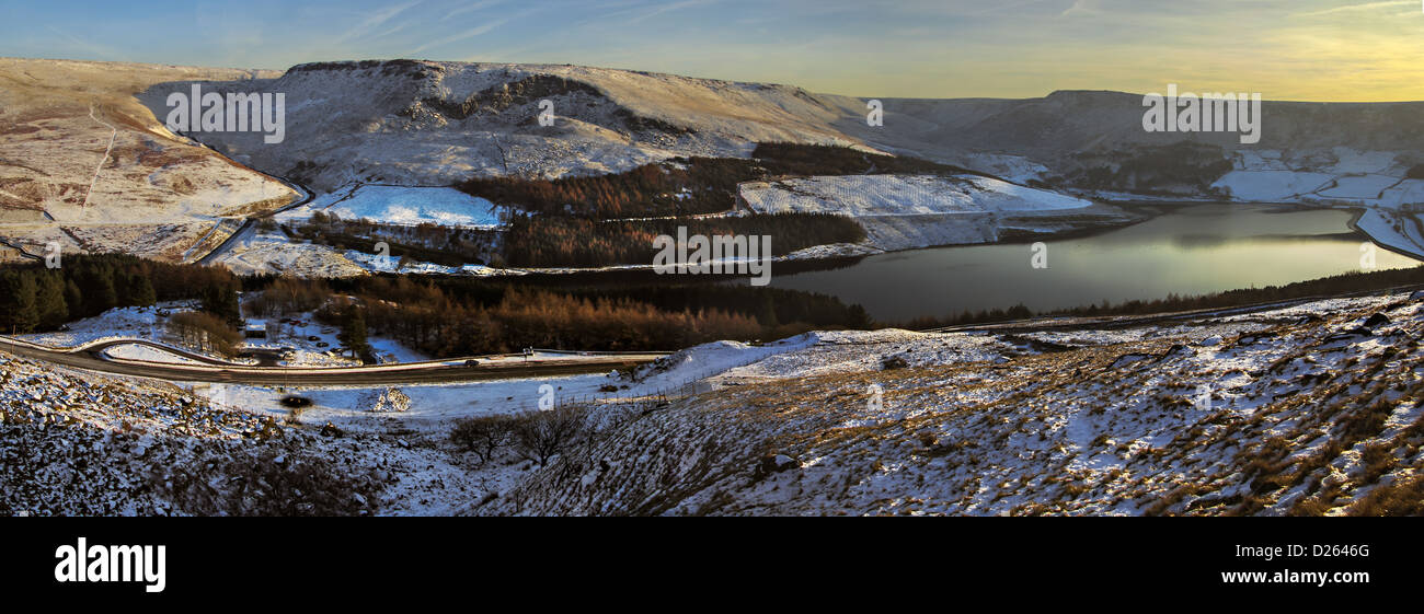 Dovestones, Chew Valley, Panorama, Saddleworth Stockbild