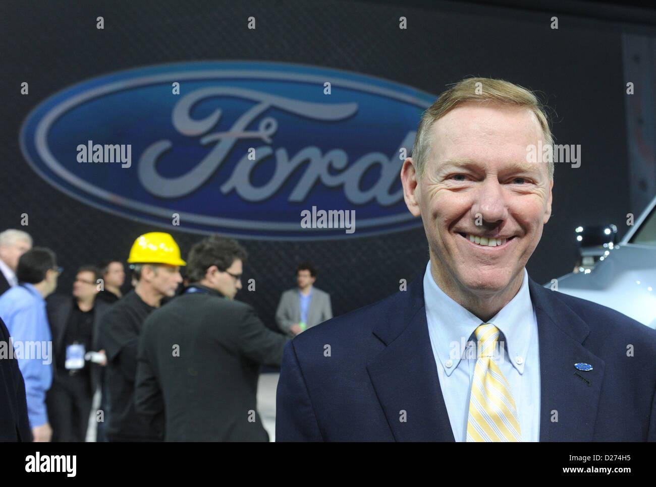 CEO der Ford Motor Company präsentiert Ford ATLAS Konzeptfahrzeug am zweiten Pressetag auf der North American Stockbild