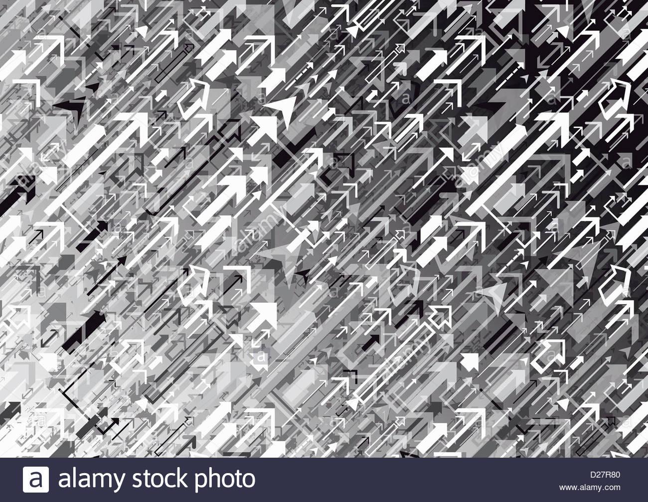 Schwarz / weiß-Zusammenfassung der Pfeile Stockbild