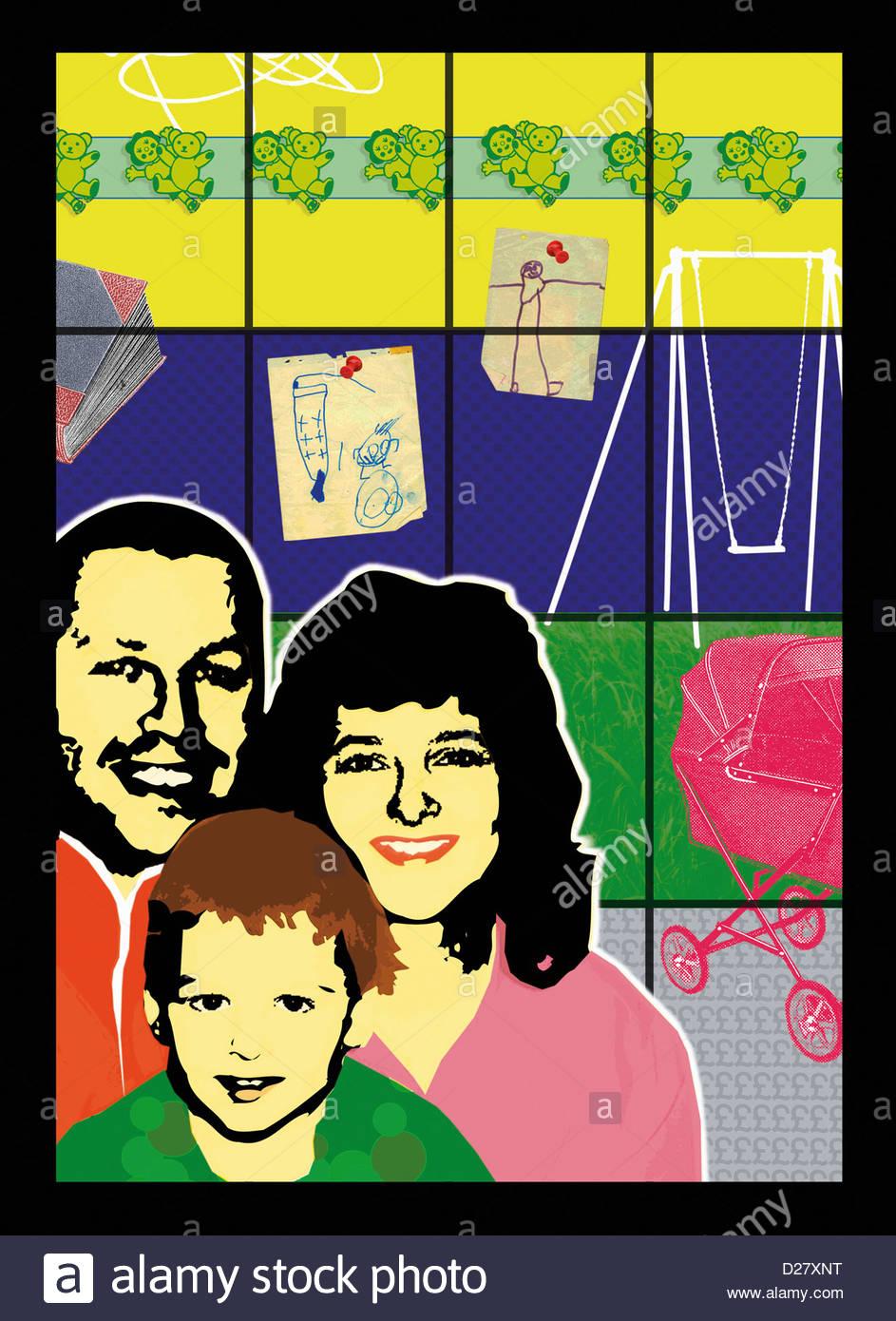Porträt der glückliche Familie Stockbild
