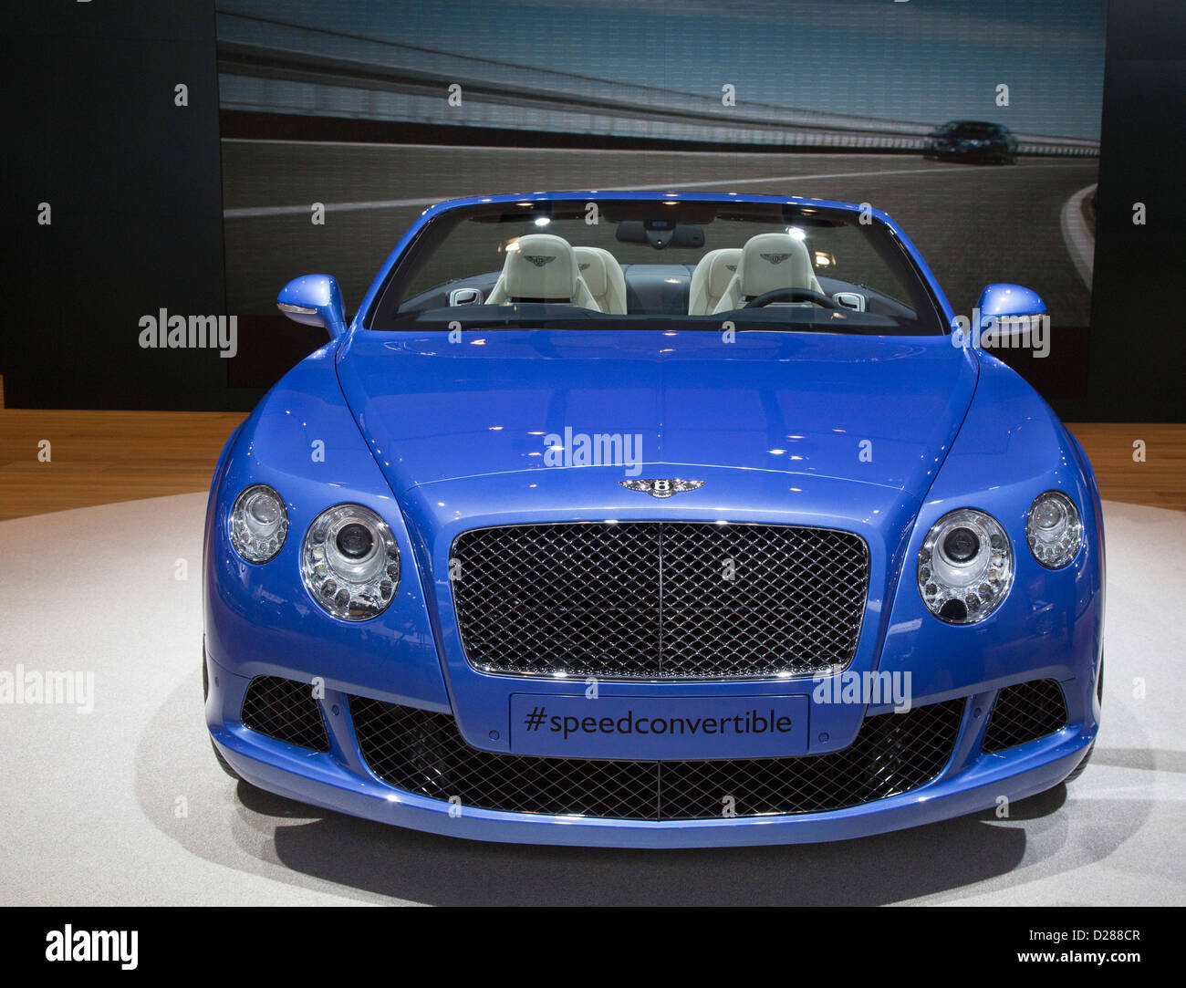 Der Bentley Continental GT Speed Convertible auf dem Display auf der North American International Auto Show Stockbild