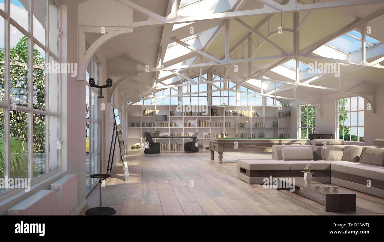 Luxus Loft Interieur, mit alten Metallstruktur auf Decke und ...