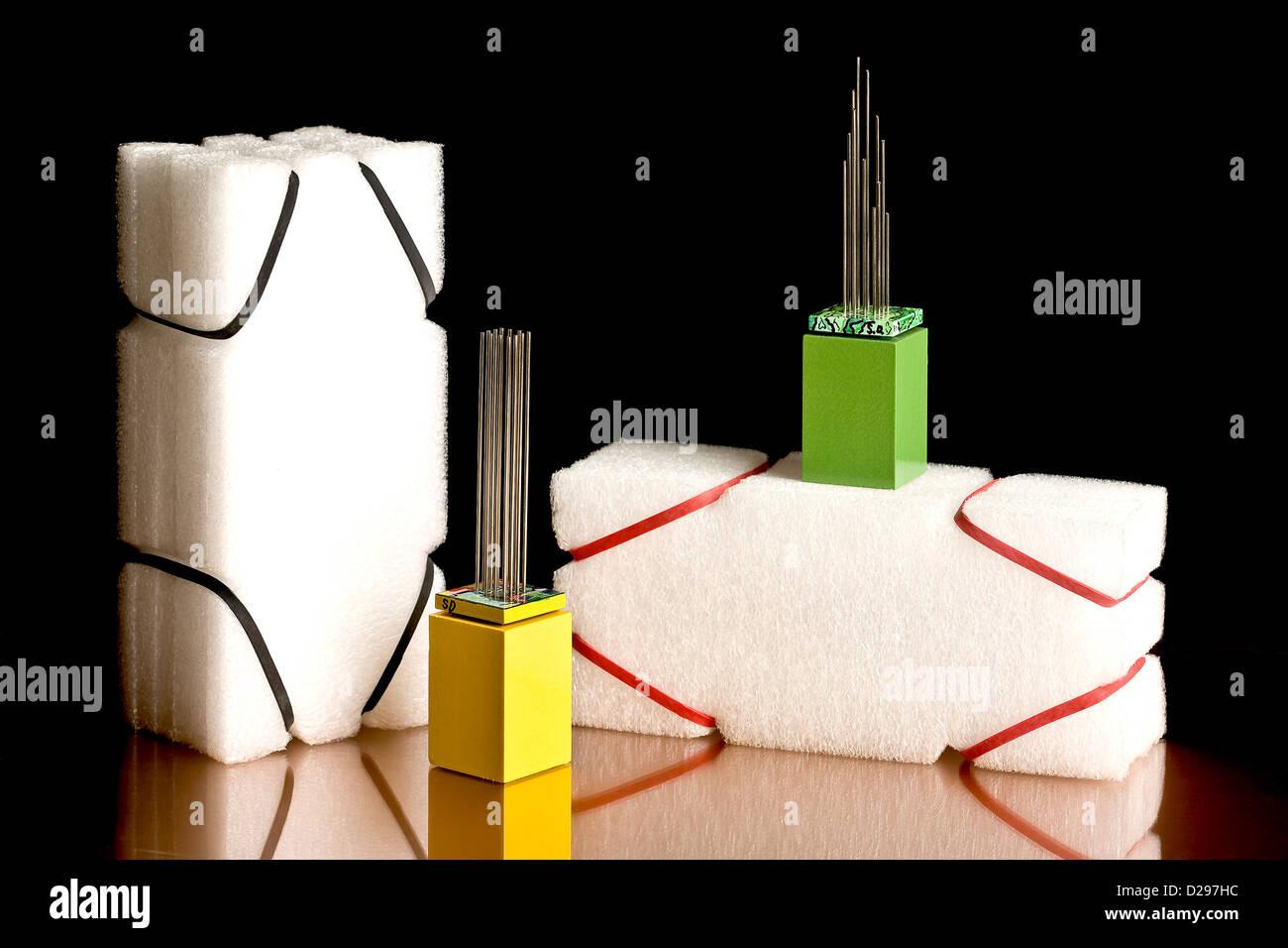 Symbolische Kunst Modell Twin Towe Stockbild