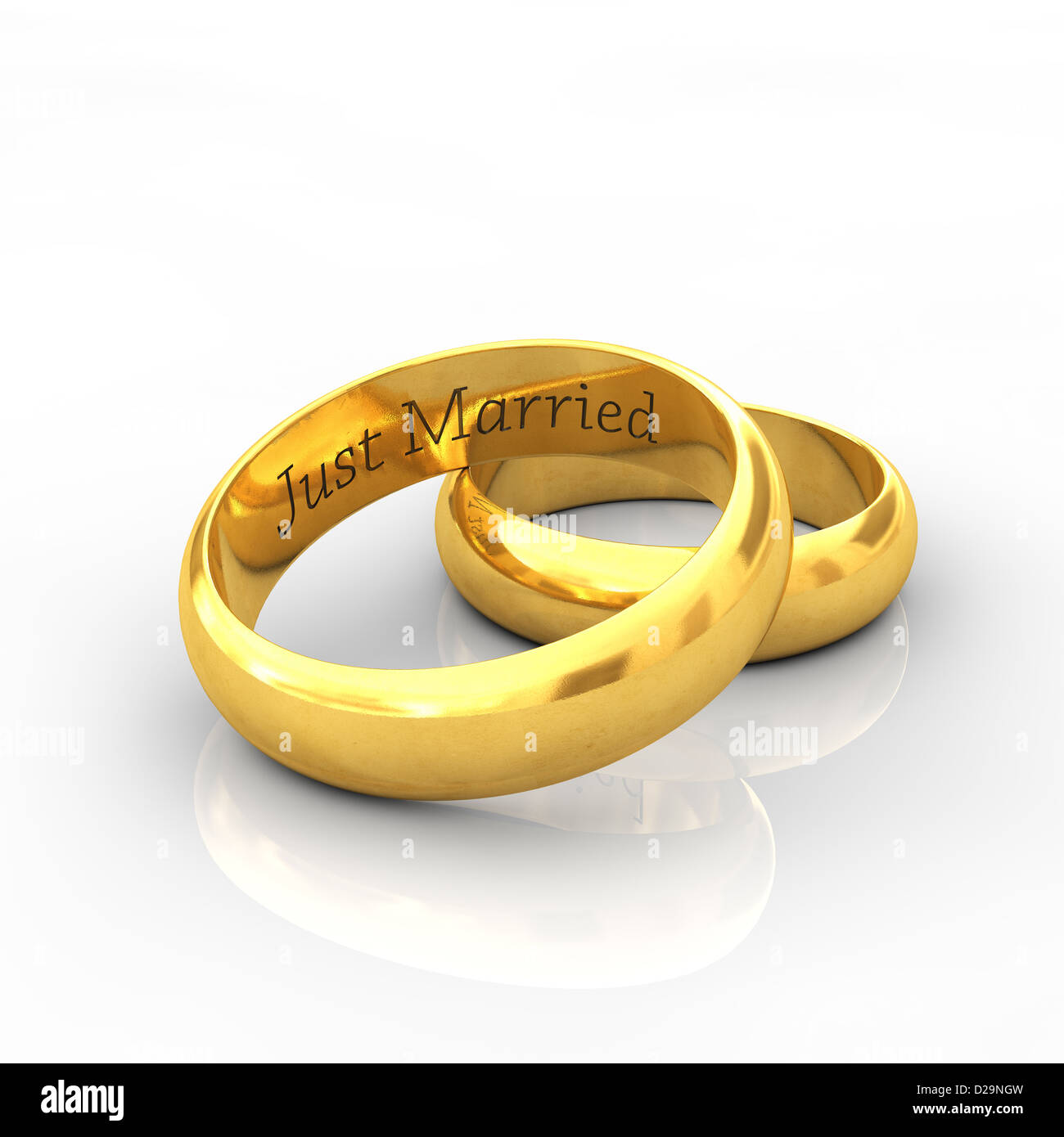 Gravierte Goldene Hochzeit Ringe Auf Weißem Hintergrund Mit
