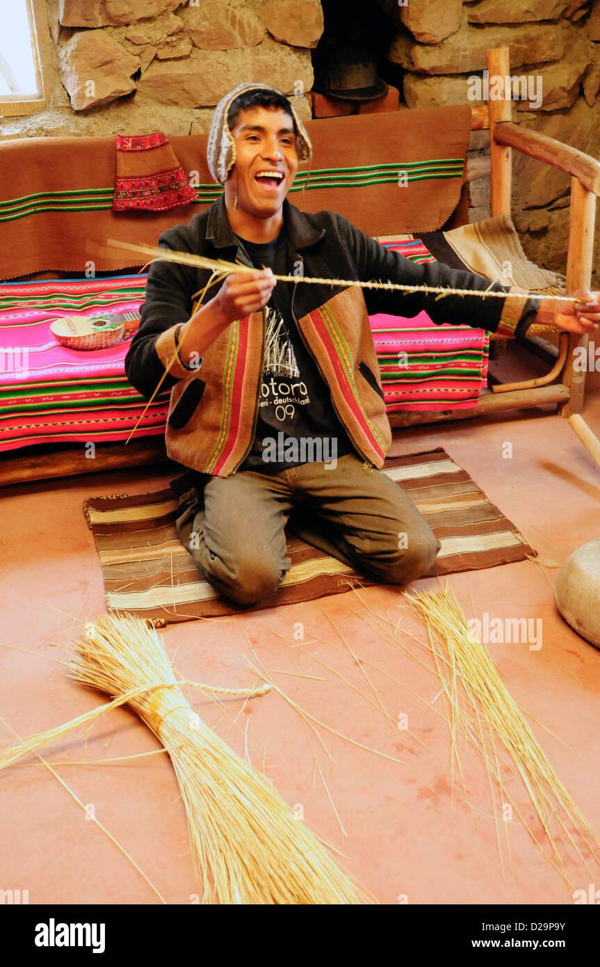 Reed Weaver zeigt Ergebnisse, Peru Stockbild