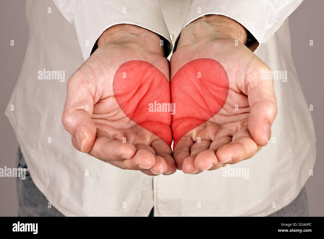 Herzform in männlichen Händen Stockbild